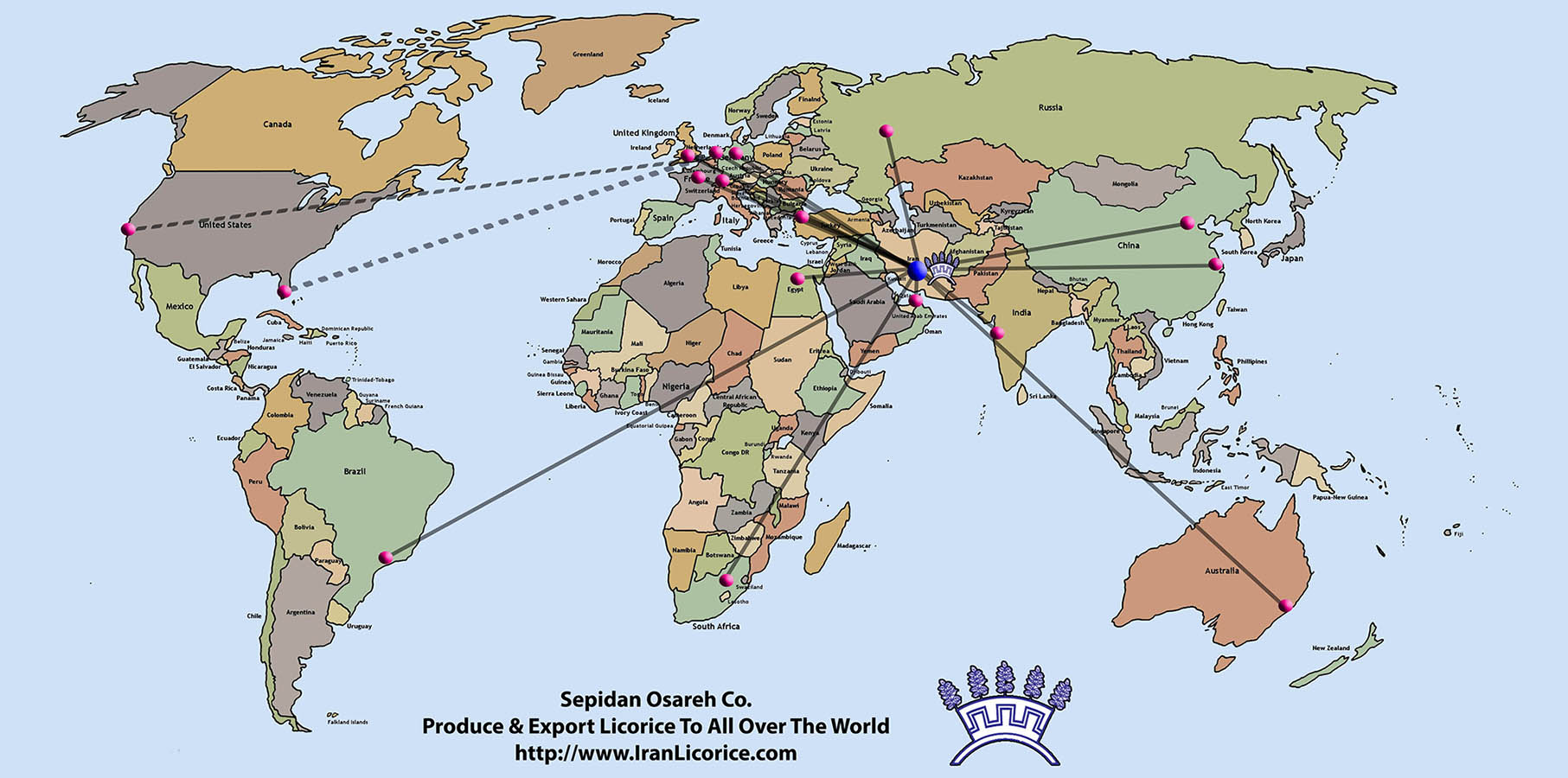 World_Map_L Powder Licorice Block Licorice Red Candy Licorice Extract Export Licorice Products to all over the world